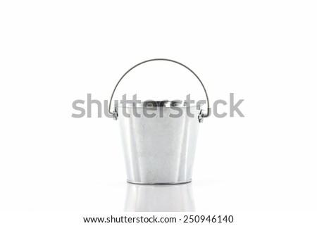 Metal zinc bucket on white background. - stock photo