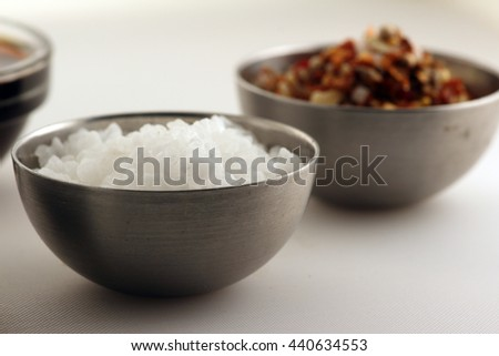 Metall bowls of spices