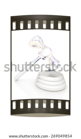 Metall gavel isolated on white background. The film strip - stock photo