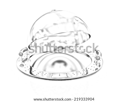 Metall glossy salver dish under cover on a white background. Pencil drawing