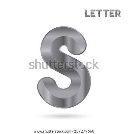 Metallic alphabet. Set of stainless 3d letters. Letter S. - stock photo