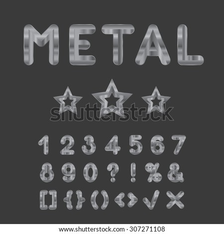 Metallic alphabet. Set of stainless 3d numbers. Isolated digits and punctuation marks on dark background. - stock photo