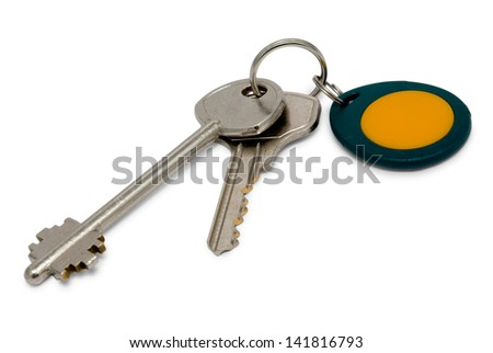 Metallic and magnetic (proximity) keys isolated on white background.psd