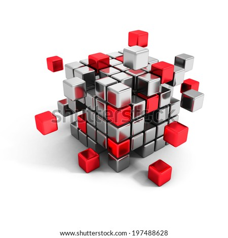 metallic and red cube blocks structure. Business teamwork communication concept 3d render illustration - stock photo