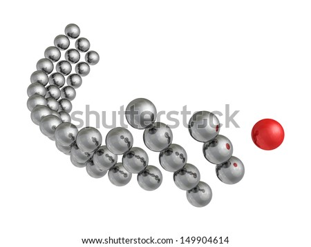metallic arrow of the balls with the red leader in front - stock photo
