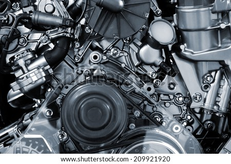 Metallic background of the internal combustion engine.