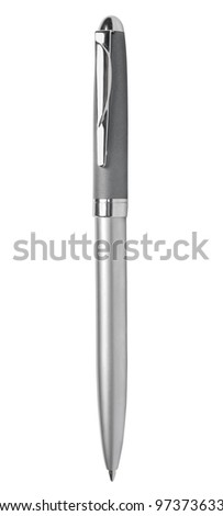 Metallic ballpoint pen isolated on white background