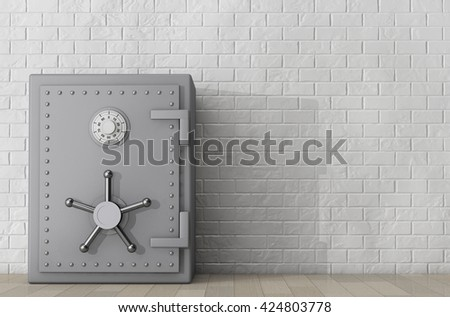 Metallic Bank Safe in front of Brick Wall. 3d Rendering - stock photo