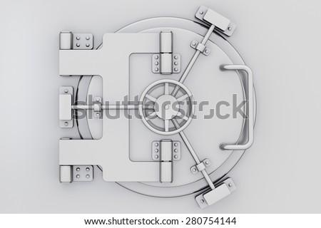 Metallic bank vault door on extreme closeup - stock photo
