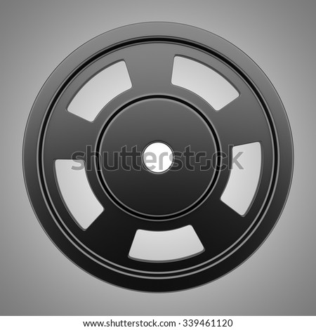 metallic barbell weight isolated on gray background  - stock photo