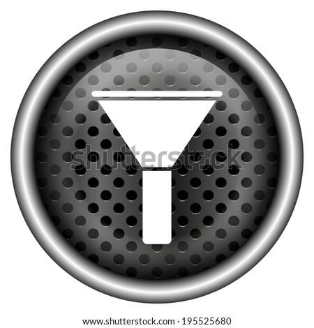 Metallic black glossy icon on white background - stock photo