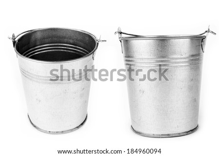 Metallic bucket isolated on a white background  - stock photo