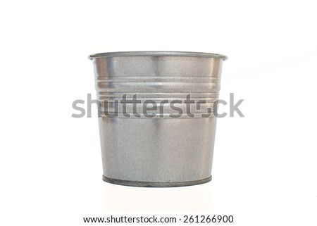 Metallic bucket. Isolated on white background - stock photo