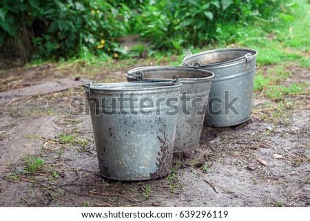 Metallic Bucket. Old Garden Pail