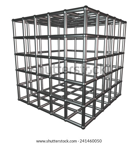 Metallic cage isolated over white, 3d render - stock photo