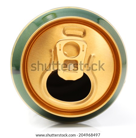 metallic can on white background,