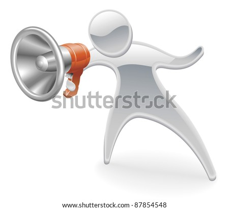 Metallic cartoon mascot character megaphone concept