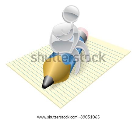 Metallic cartoon mascot character writer thinking concept - stock photo