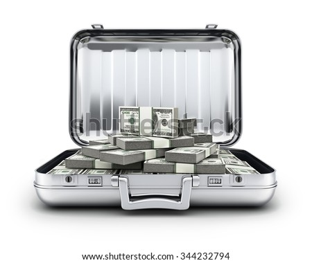 Metallic case and money  (done in 3d, cgi)   - stock photo