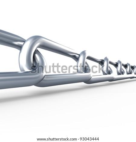 Metallic chain. Isolated. 3d render illustration - stock photo