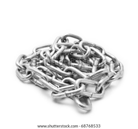 metallic chain on a white background - stock photo