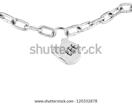 metallic chain with a lock on a white background