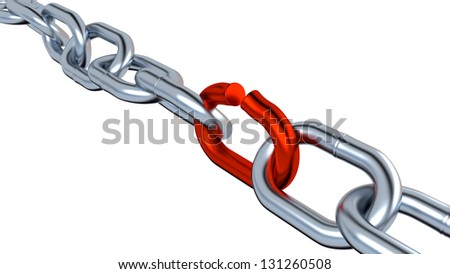 Metallic Chain with One Red Link on a White Background