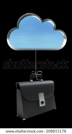 metallic cloud hold black leather briefcaseisolated on black background High resolution 3d