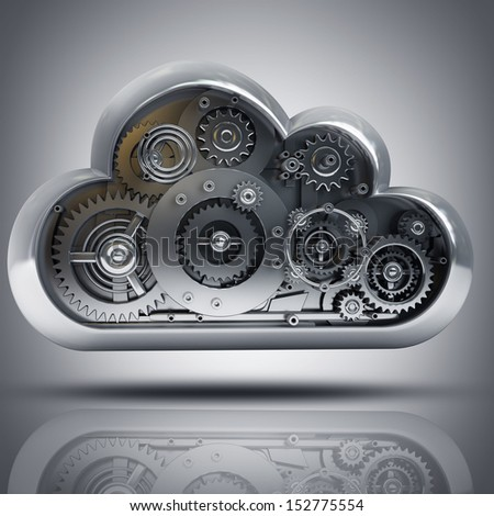 metallic cloud with gears box. High resolution 3d - stock photo