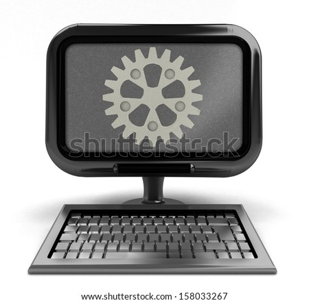 metallic computer with cogwheel on screen concept isolated illustration