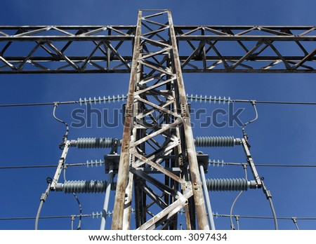 Metallic construction and insulators of high voltage electricity plant.