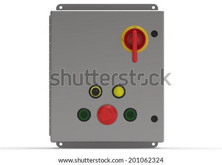 Metallic control box face view isolated on white - stock photo