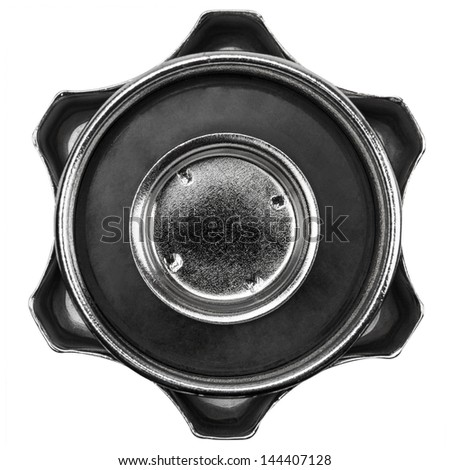Metallic cover with rubber gasket for the tank with fuel, isolated on white - stock photo