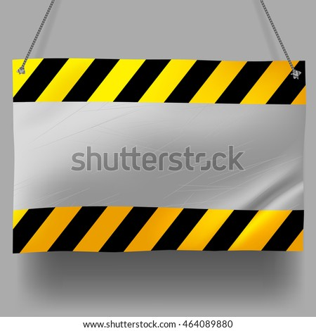 Metallic crumpled yellow and black striped signboard. Under Construction Background. Contains the Clipping Path