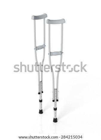 Metallic crutches isolated on white background  - stock photo