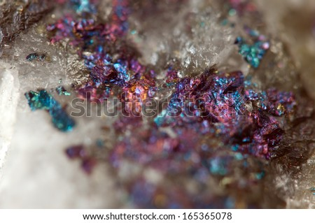 Metallic crystal nugget. Macro