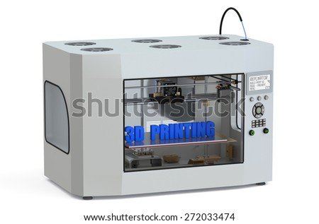 metallic 3d printer  isolated on white background - stock photo