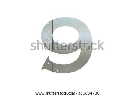 Metallic digit nine with nut isolated on white background, Number 9 - stock photo