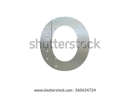 Metallic digit O or Zero with nut isolated on white background, Number 0 - stock photo