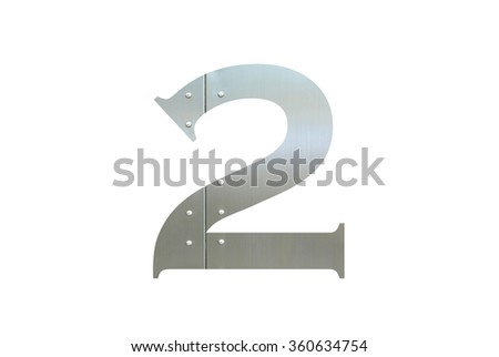 Metallic digit two with nut isolated on white background, Number 2 - stock photo