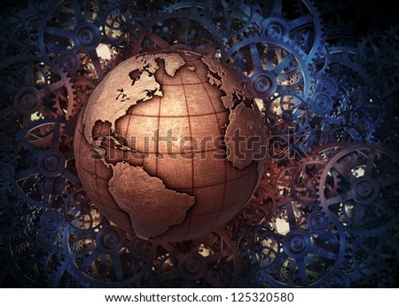 Metallic Earth and gears background - stock photo