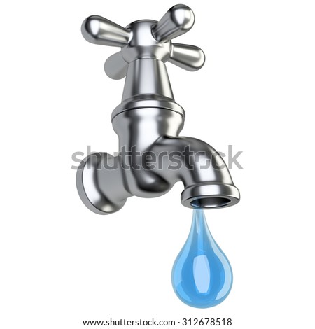 Metallic faucet with drop water, isolated  on white background - stock photo