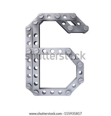 Metallic figure (6) with rivets and screws isolated on white background 3d render high resolution