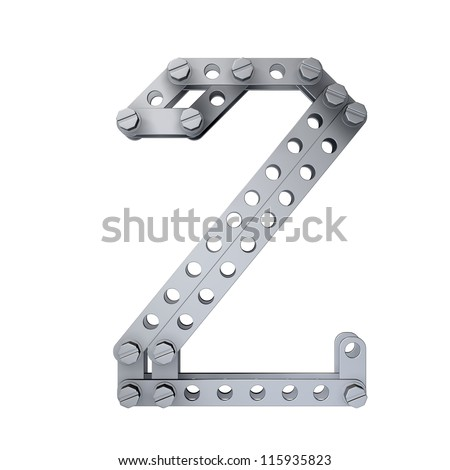 Metallic figure (2) with rivets and screws isolated on white background 3d render high resolution