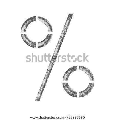 Metallic foil style percent sign or percentage mark symbol 3D illustration with a rough crinkled wavy shiny metal surface style and a stencil font isolated on a white background with clipping path.