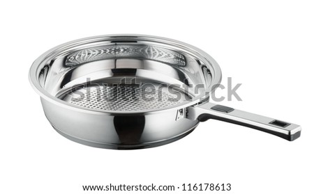 Metallic frying pan on isolated on white background