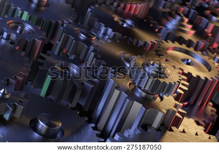 Metallic Gears Abstract Background - stock photo