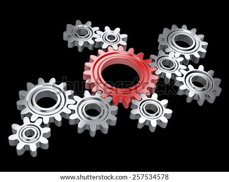 Metallic gears and one red. Teamwork and leadership concept. Isolated on a background  - stock photo