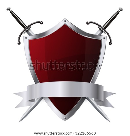 Metallic glittering red shield and two swords with ribbon isolated - stock photo
