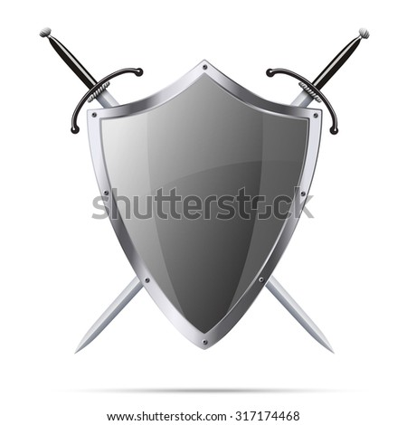 Metallic glittering shield and two swords isolated on white background - stock photo